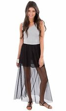 Hidden Fashion Womens Detachable Jersey Stretch Vest Mesh Maxi Dresses/Skirts