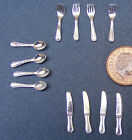 1:12 Scale 12 Piece Silver Metal Cutlery Set Dolls House Miniature Accessories