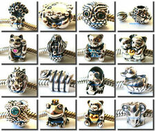925 Sterling Silver Animal Cartoon Crystal CZ Fit European Bead Charm Bracelet