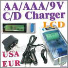 AA AAA C D 9V 2A LCD NI-MH BATTERY RECHARGEABLE CHARGER