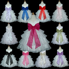 USD75 White Pageant Christmas Bridesmaids Wedding Flower Girls Dress 1 to 14 Yrs