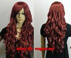 Sexy New dark red long curly cosplay Party Healthy hair wig +Free Wig Cap