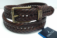 NAUTICA Men's Belt *Tan Brown Braided Leather w/Gold Buckle* Various Sizes *New