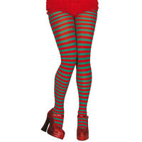 Red & Green Candy Cane Stripe Tights Christmas Festive Fancy Dress Accessory New