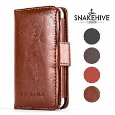 SNAKEHIVE® Genuine Real Leather Wallet Flip Case Cover for Apple iPhone 4/4S