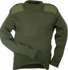 Genuine British Army Surplus Commando Pullover Military Wool Jumper Olive Green