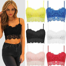 Sexy Womens Ladies Lace Crochet Crop Top Strappy Bra Bralet Eyelash Vest Party