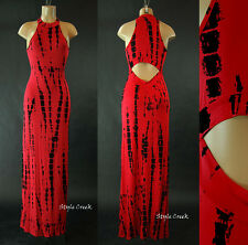 Red Tie Dye Boho High Neck Sleeveless Back Cut Off Long Maxi Casual Dress S M L