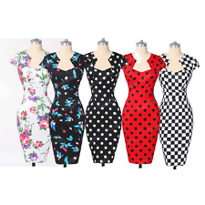 VINTAGE 50'S ROCKABILLY RETRO OFFICE PENCIL PIN UP EVENING COCKTAIL PARTY DRESS