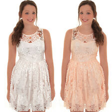 Ladies Sleeveless Floral Flower Lace Lined Skater Flared Frock Party Mini Dress