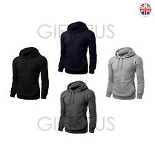 Mens Hoodie Plain Sweatshirt Top Hoody Hooded Pullover Black Charcoal Navy Grey