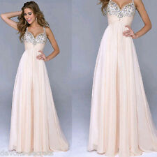 sexy ladies wedding ball gown prom long evening dress sequin size 6 8 10 12 BG4