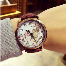 Roman Numbers Dial Earth Watch Map Vintage Wrist Leather Watch Women Men Gifts