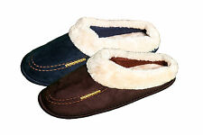 PIERRE ROCHE Mens Faux Fur Trim Mule Slippers Brown Navy Lining Stylish Comfy