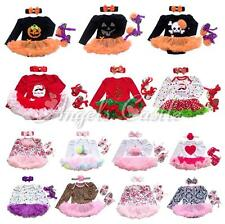 3PCS Girls Baby Romper Outfit Christmas Halloween Party Dress Jumpsuit Costume