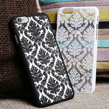 New Hard Back Damask Case Cover for Apple iPhone with FREE Screen Protector