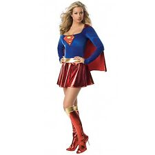 Ladies Superwoman  Girl Style Hero Fancy Dress Costume Outfit Sizes:. 6 8 10 12