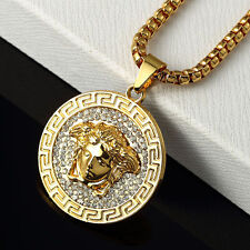 18k Gold Plated Medusa Head-Versace-Style Necklace Pendant With Chain 30""