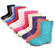 Womens Hot Summer Knitted Flat Anklet Boots Sandals Shoes Hollow Stylish Shoes