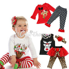 Baby Girls Christmas Reindeer Top shirt Dress Pants Legging Outfit Clothes Set