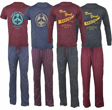 Mens Poly Cotton Jersey Pyjama Set Short/Long Sleeve T-shirt/Top and Trouser