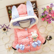 Baby Girl Warm Coats Girls Rabbit Down Jacket Kids Hooded Cartoon Winter Tops