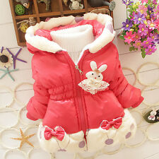 Baby Kids Girls Warm Thick Baby Clothing Coat Tops Hooded Outerwear Down Winter