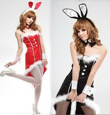 Sexy Women Bunny Rabbit Xmas Role-play Costume Set Lingerie Swallow Tail Dress