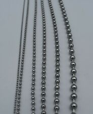 "2.4MM-4.5MM 7""-42"" SILVER  STAINLESS STEEL BALL CHAIN NECKLACE, MADE IN USA"