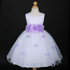 White/Lilac Lavender Easter Wedding Flower Girl Dress 6M 12M 18M 2 3/4/5 6 8 10