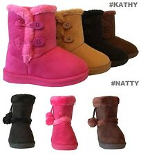 New Infant Toddler Girls Winter Cute Casual Faux Fur Suede Button Boots Shoes