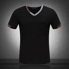 New Famous Fashion Design Mens Cotton T shirt short sleeve Solid colour slim fit