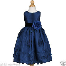 Navy Blue Christmas Holiday Formal Party Taffeta Wedding Flower Girl Dress 4 6 8