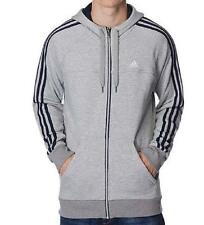 MENS GREY ADIDAS NAVY 3 STRIPE HOODED TOP HOODY HOODIE SWEATSHIRT S M L XL XXL