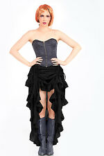 Women's Steampunk Western Tiered Ruffle Adjustable Front Show Girl Skirt