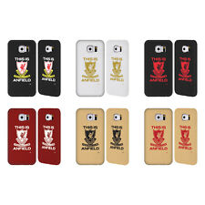 LIVERPOOL FC LFC THIS IS ANFIELD GOLD LEATHER BACK CASE COVER FOR SAMSUNG PHONES