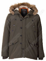 Mens Brave Soul Parka Coat Nylon Taslan Sherpa Lined Fur Trim Hooded Noel Jacket