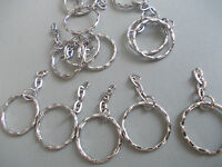 50 X SILVER COLOUR KEY RING CLASPS WITH DANGLY CHAIN,KEYRING/BAG CHARM CLIPS