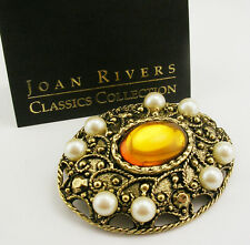 Joan Rivers Ornate Faux Pearl & Crystal Brooch  1 3/4""