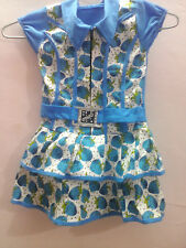 Trendy front ZIPed White & Bright Light Blue Frock/ 2 to 3 years old baby Girl