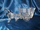 "VINTAGE LARGE 9 3/8"" CLEAR GLASS DONKEY PULLING CART~CANDY DISH~PLANTER~FARMYARD"