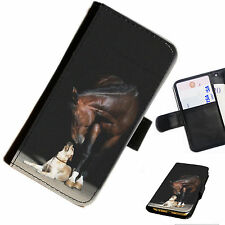 HOR01ch Printed leather flip/wallet PU Phone Case Horse chestnut all models