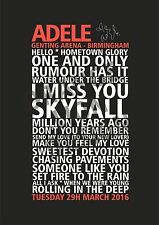 Adele 25 Tour Set List Poster - Birmingham 29th / 30th March 2016 Poster