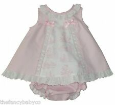 Spanish Made Baby Girls Dress & Knickers set in Pink with Ribbons & Embroidery