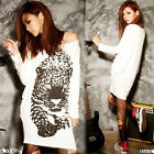 Casual Beige Womens Long Sleeves Hip-length T-shirt Tee Tops Tiger Print 4311