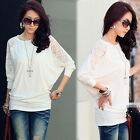 Womens Solid White Lace See-through Batwing Sleeve Splicing Top T-shirt S M 4887