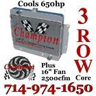 """3 Row Champion Radiator For 1969-1970 Chevy Impala With 16"""" Reversible Fan"""