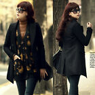 New Womens Double Breasted Lapel Multi-size Black Trenchcoat Coats Outwear 6124
