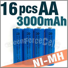 16 pcs AA 2A LR6 3000mAh 1.2V Ni-MH rechargeable battery Cell For Toy/RC Blue