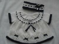 """BABY OR REBORN """" NEW DESIGN"""" HEARTS AND BOWS DRESS AND HEADBAND KNITTING PATTERN"""